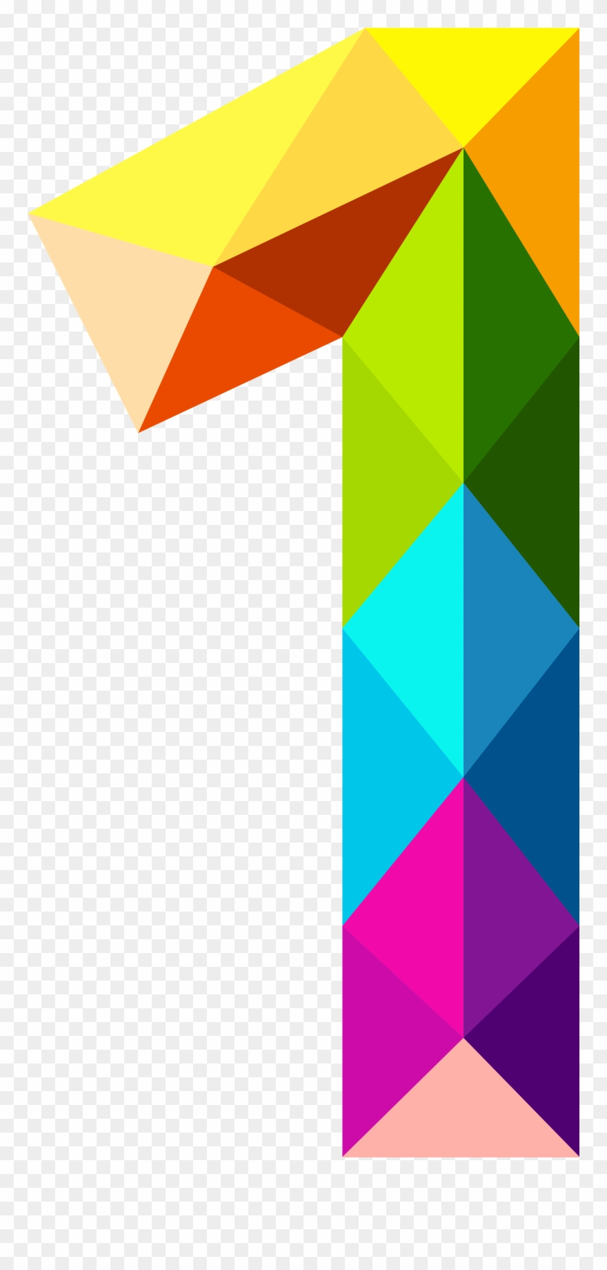 7 clipart colourful. Triangles number one png