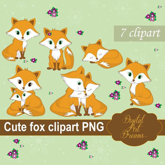 Fox animals baby mom. 7 clipart cute