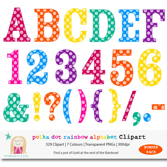 Alphabet digital rainbow bumper. 7 clipart dot
