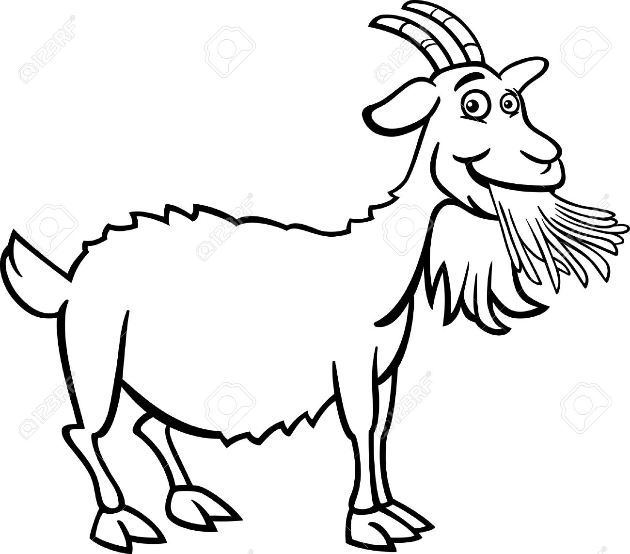 Funny station . Goat clipart black and white