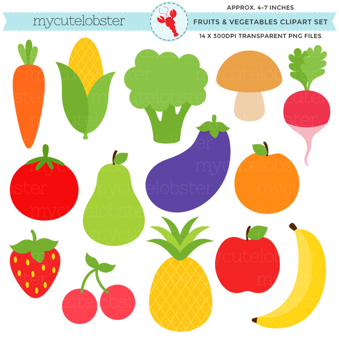 7 clipart item. Fruits vegetables set clip