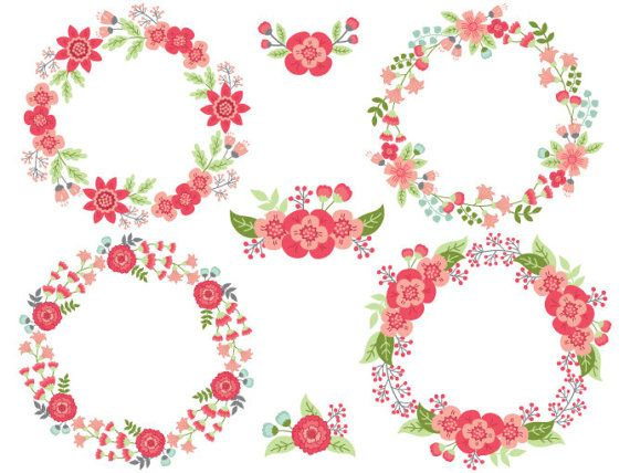 7 clipart item. Floral wreath digital vector