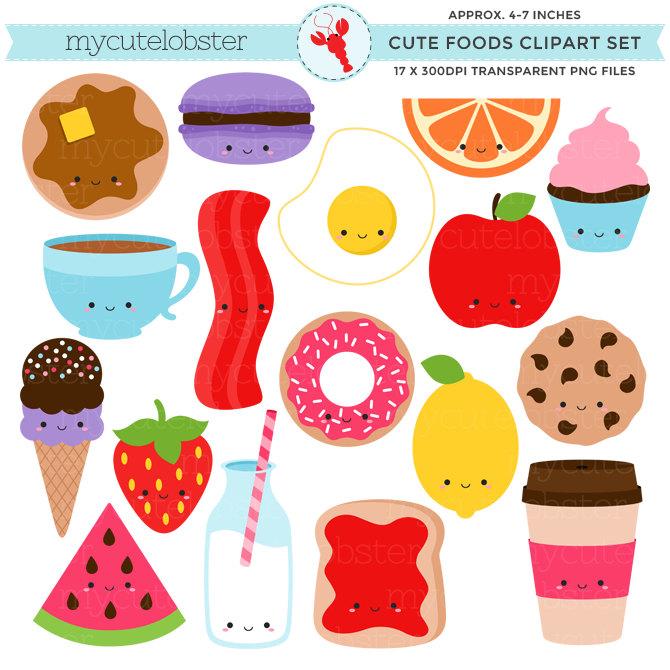 7 clipart item. Cute foods set clip