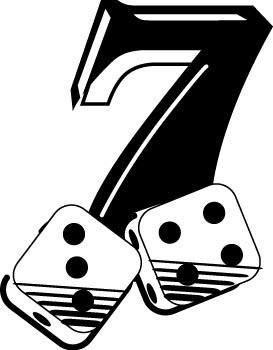 7 clipart lucky. Seven gambling decals custom