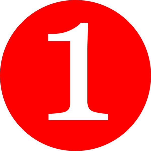 Red rounded with clip. Number 1 clipart circle