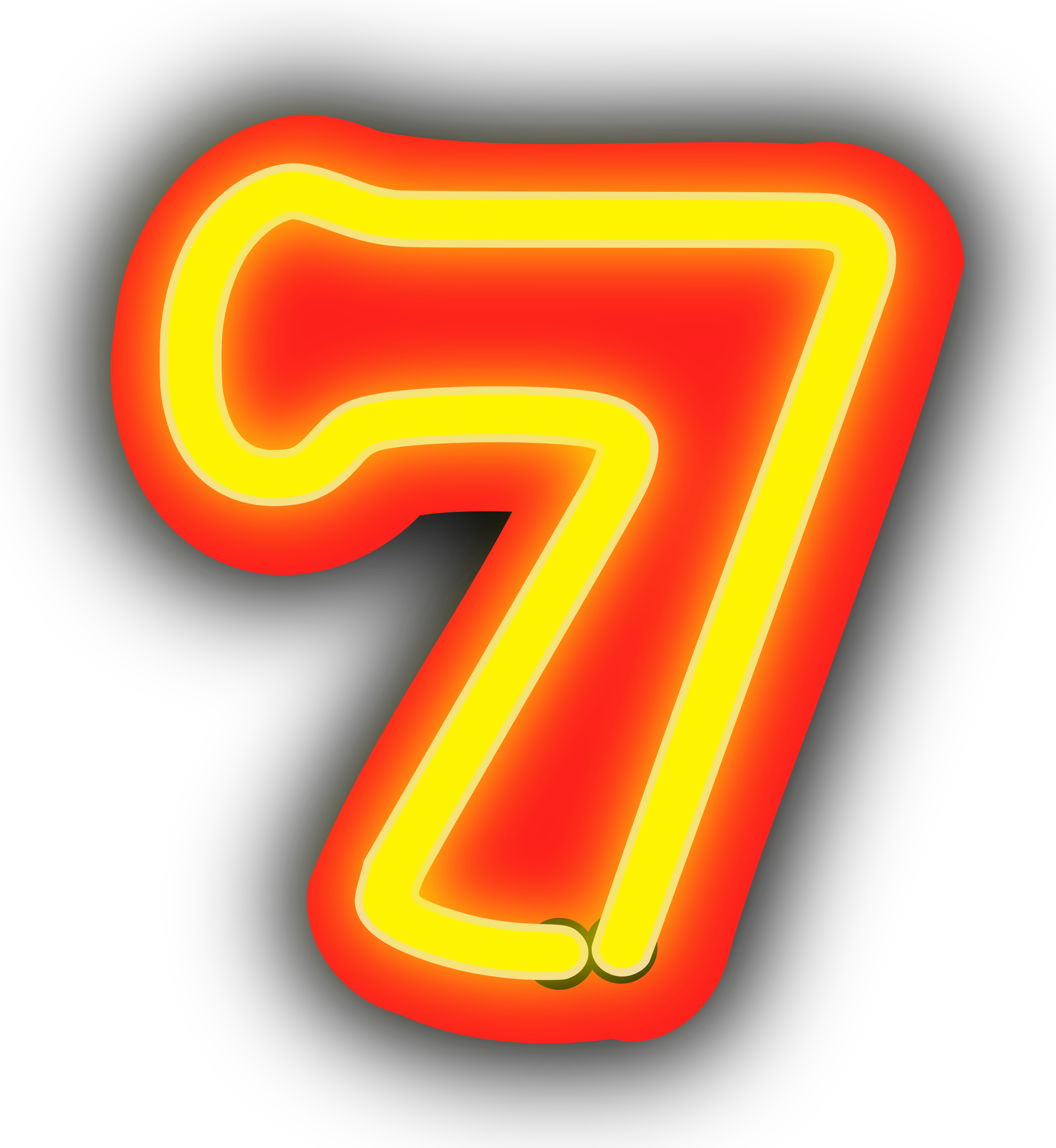 7 clipart number 7. Neon numerals big image