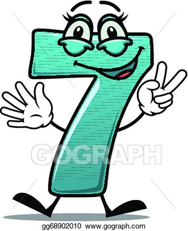 Vector happy number making. 7 clipart numeral