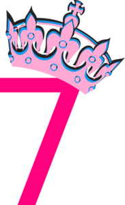 Tilted tiara and number. 7 clipart pink