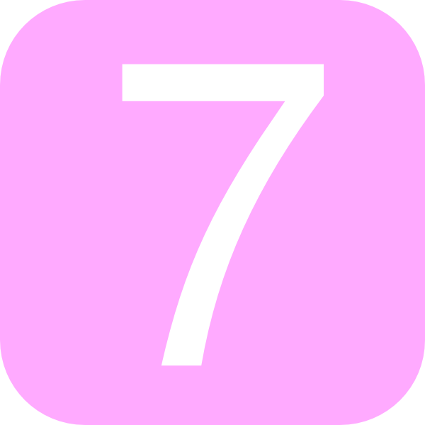 7 clipart pink. Rounded square with number