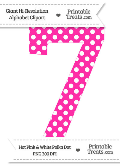 7 clipart pink. Hot polka dot number