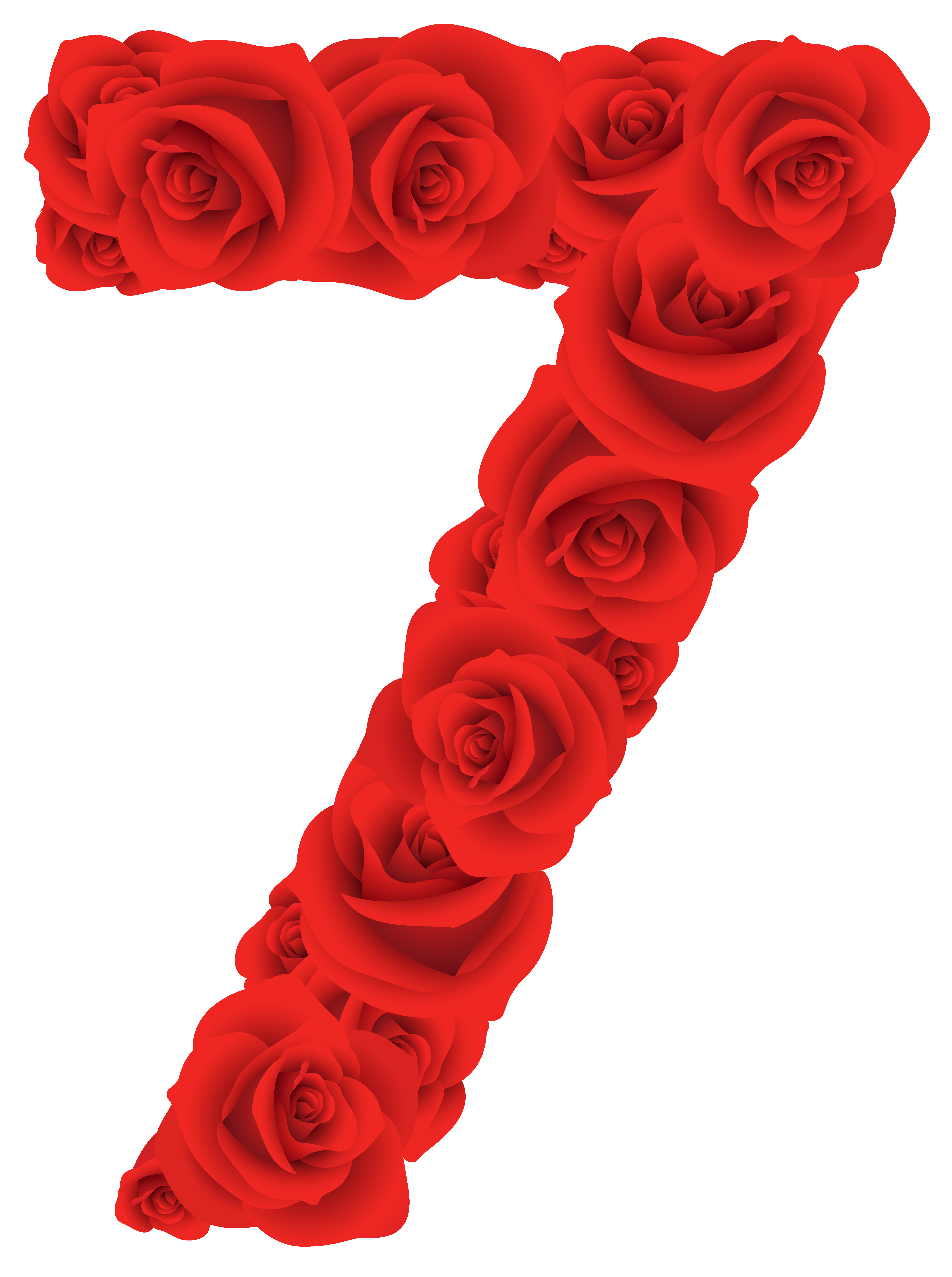 Red roses seven png. Flowers clipart number