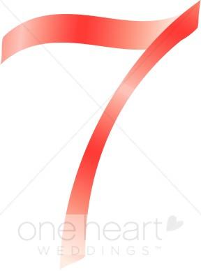 Seven pink alphabet. 7 clipart ribbon