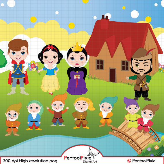 7 clipart seven. Snow white and the