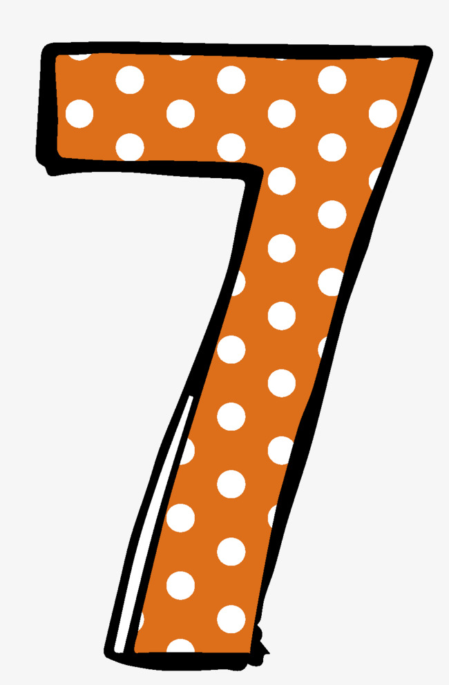 7 clipart seven. Small dot numbers dots