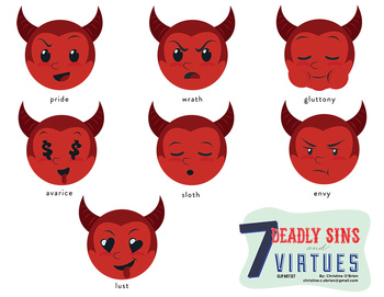 Deadly sins and virtues. 7 clipart seven