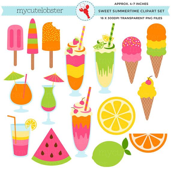 Desserts clipart summer. Sweet summertime set ice
