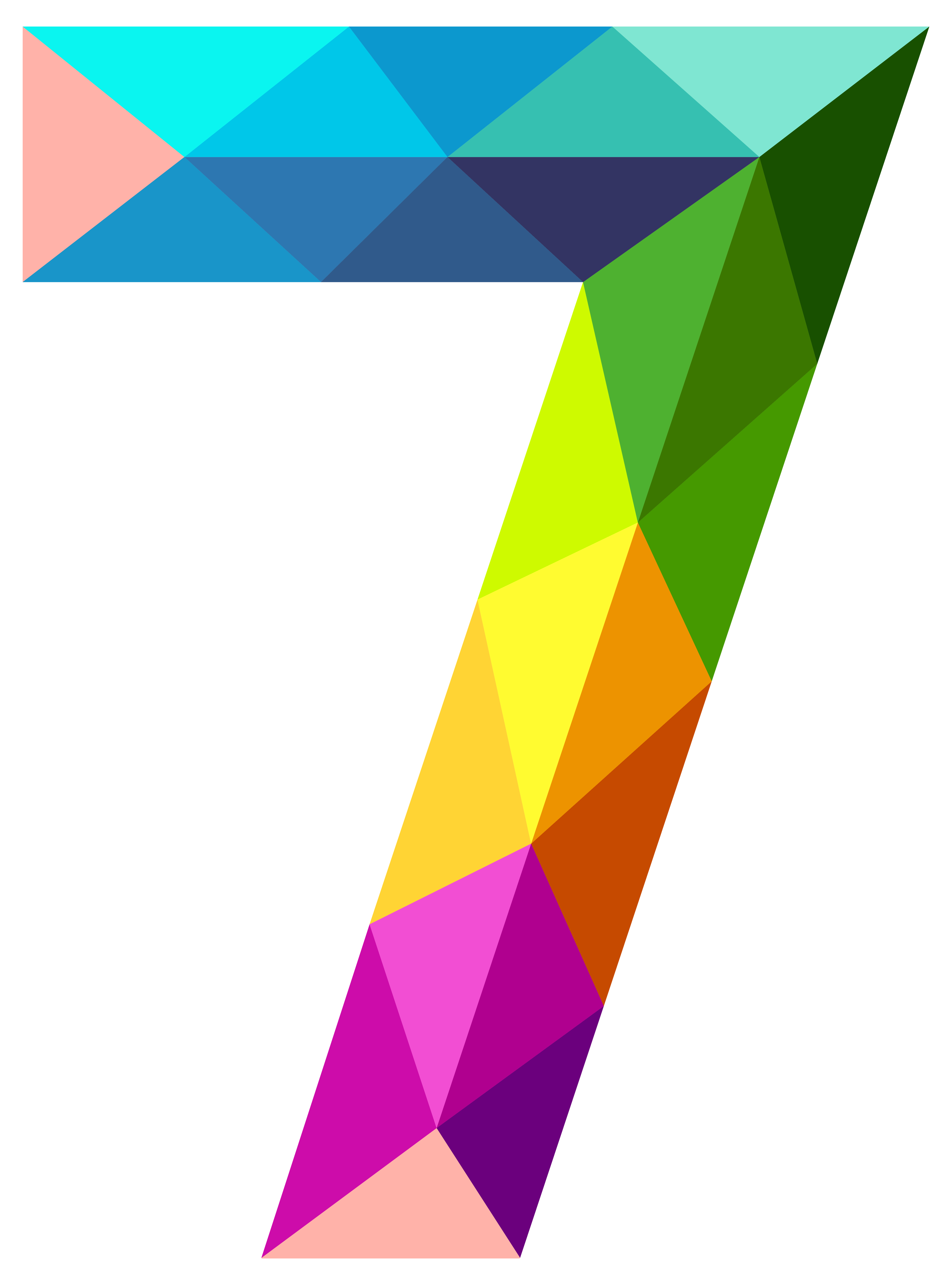 7 clipart transparent. Colourful triangles number seven