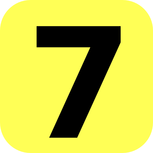 7 clipart yellow. Rounded number clip art