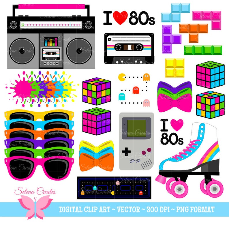 s set digital. 80's clipart