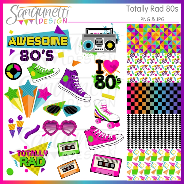 80's clipart. Sanqunetti design totally rad