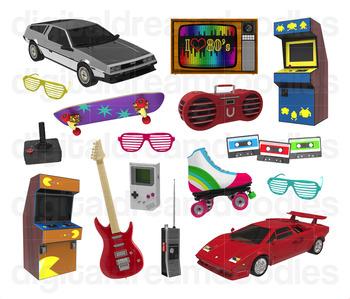 80's clipart 80 car. Retro s eighties digital