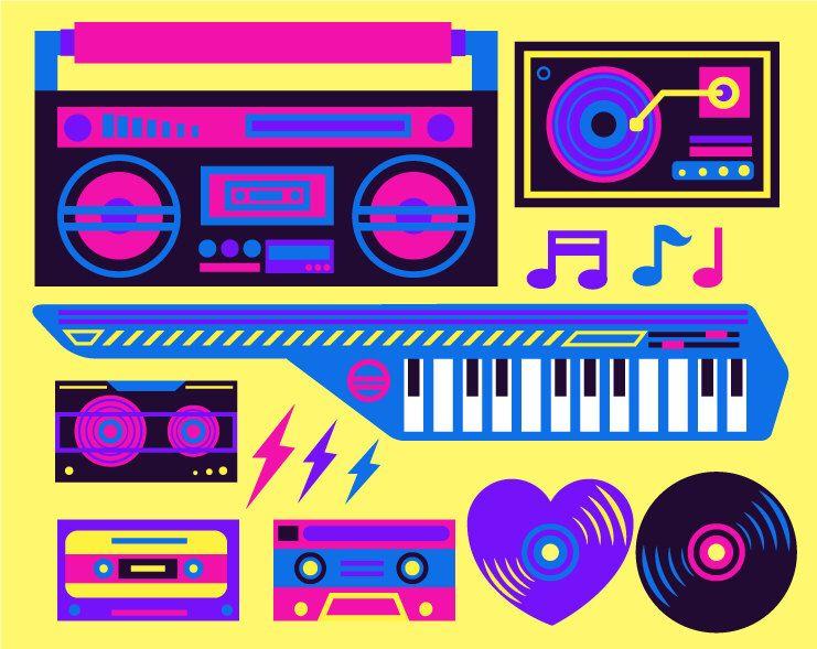 80's clipart 80 music. Eighties s neon color
