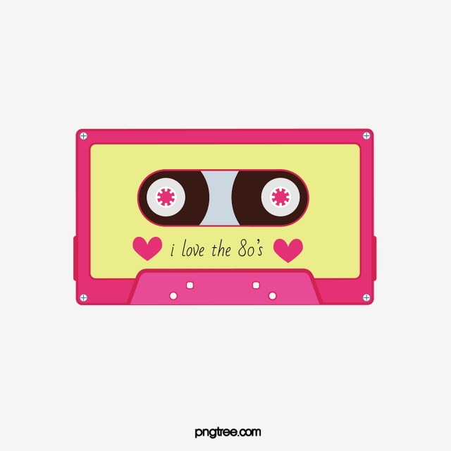 Hand drawn s painted. 80's clipart 80 radio