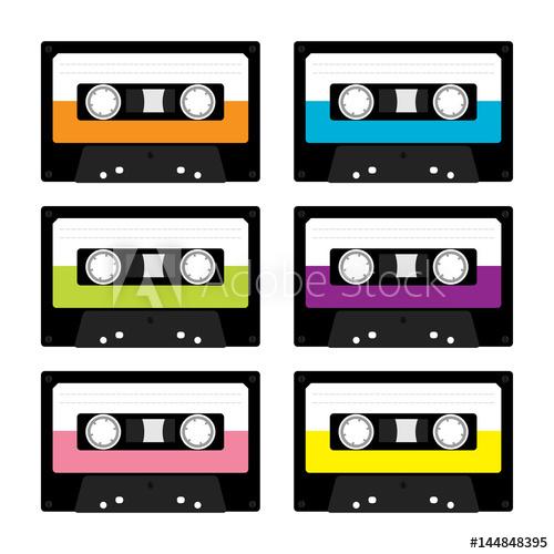 Plastic cassette retro music. 80's clipart audio tape