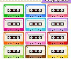 Cassette pdf files png. 80's clipart audio tape
