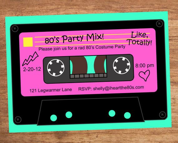 80's clipart audio tape.  s party mix