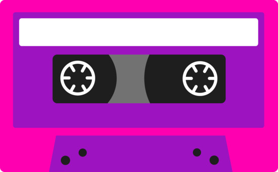 Cube clipart neon cassette tape. Pink and purple this