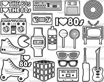 80's clipart black and white