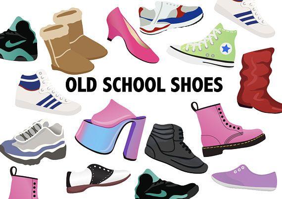 Old school shoes retro. 80's clipart blue sneaker