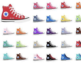 s converse etsy. 80's clipart blue sneaker