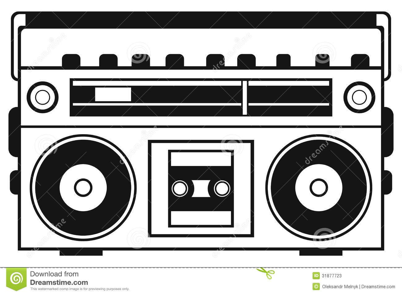 Retro ghetto blaster isolated. Boombox clipart old school