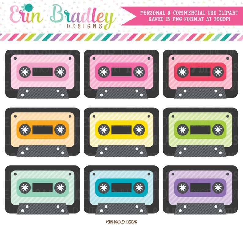 80's clipart cassete. Cassette tape set s