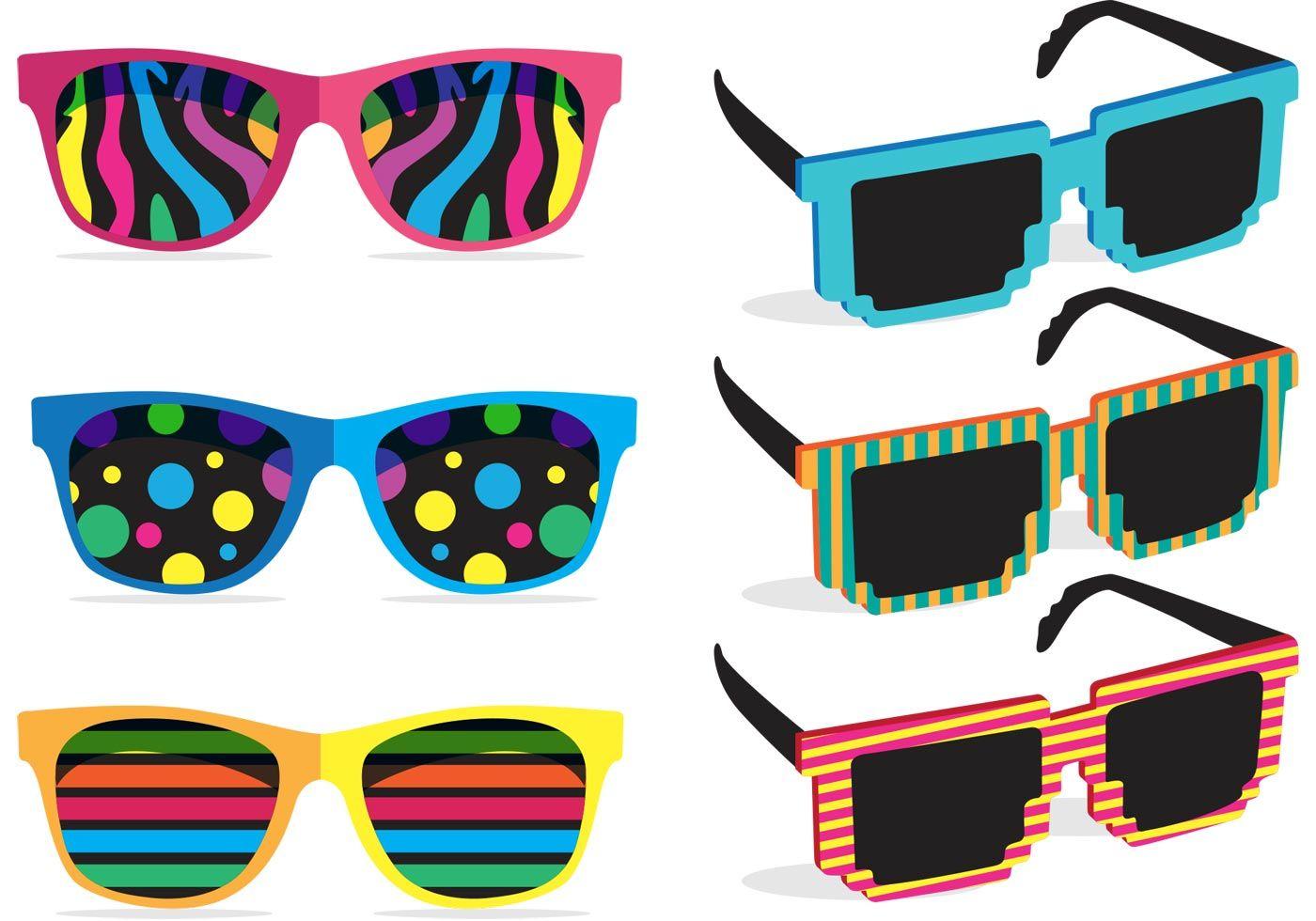 80's clipart colorful. S sunglasses vectors paper