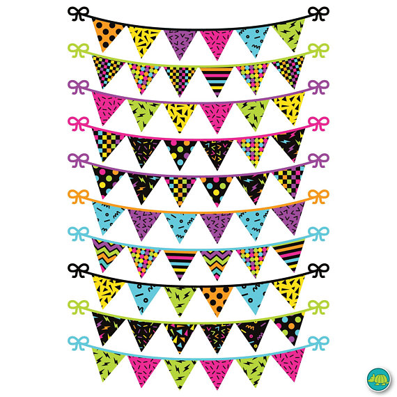 s bunting garland. 80's clipart colorful