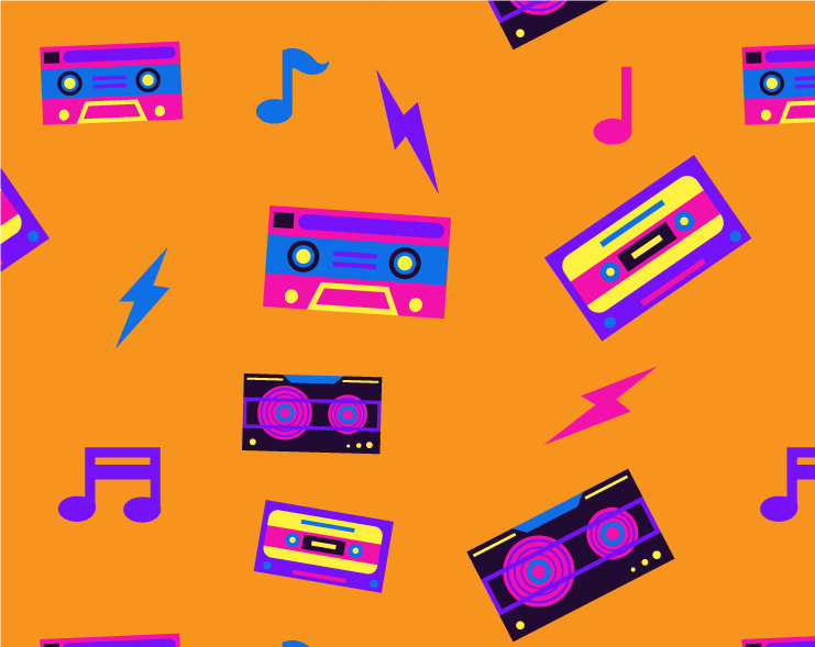 Eighties s music neon. 80's clipart colorful