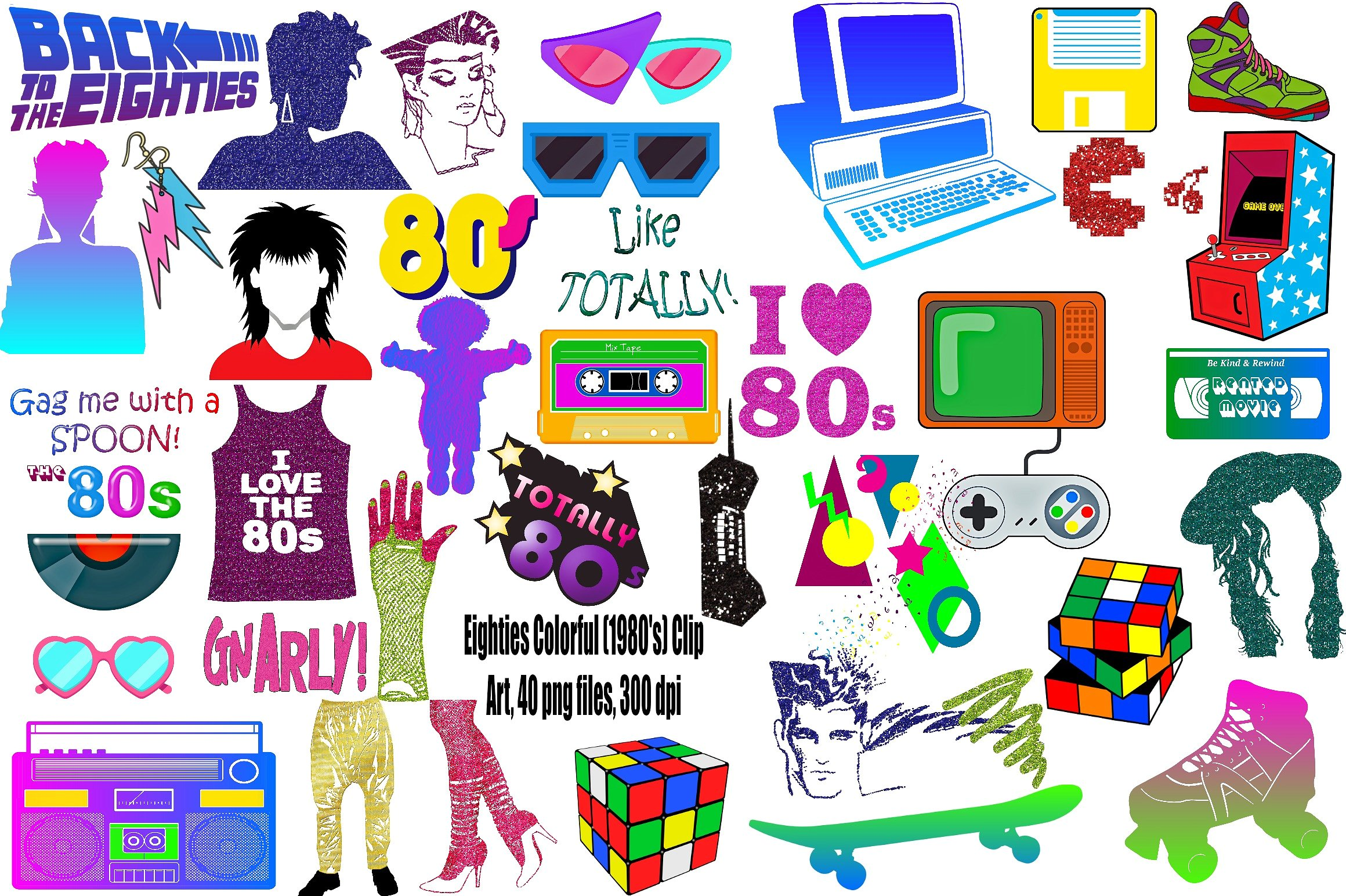80's clipart colorful. Eighties png illustrations creative