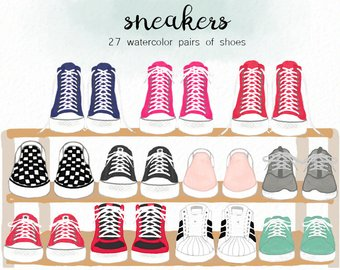 Shoes etsy watercolor sneakers. 80's clipart converse pair