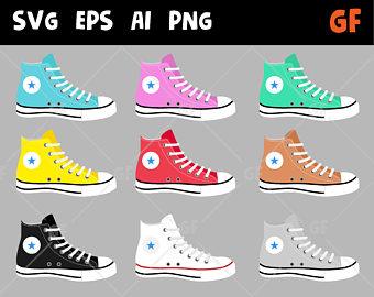 80's clipart converse pair. Shoe etsy shoes vector