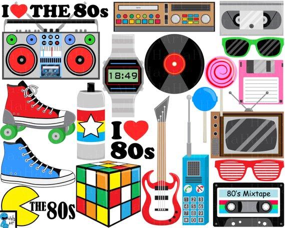 80's clipart i love the 80. S v digital clip