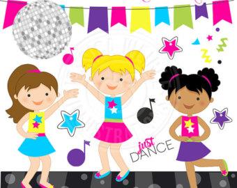 Dance disco kids party. 80's clipart kid shoe
