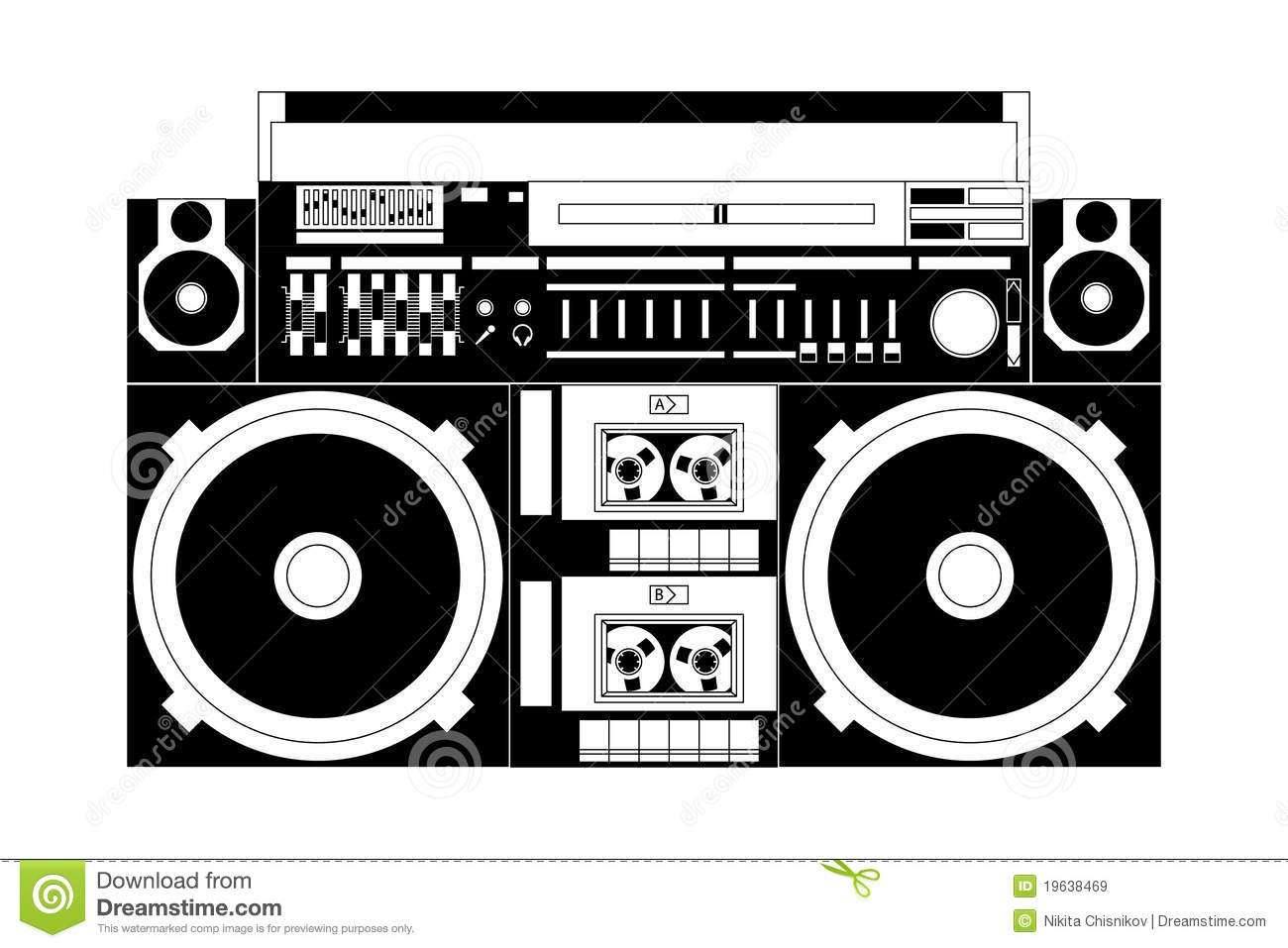 80's clipart old school.  collection of radio