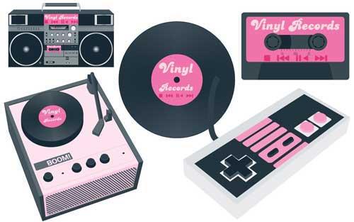 Retro clip art free. 80's clipart record