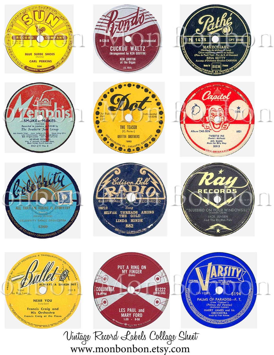 80's clipart record. Vintage labels digital collage