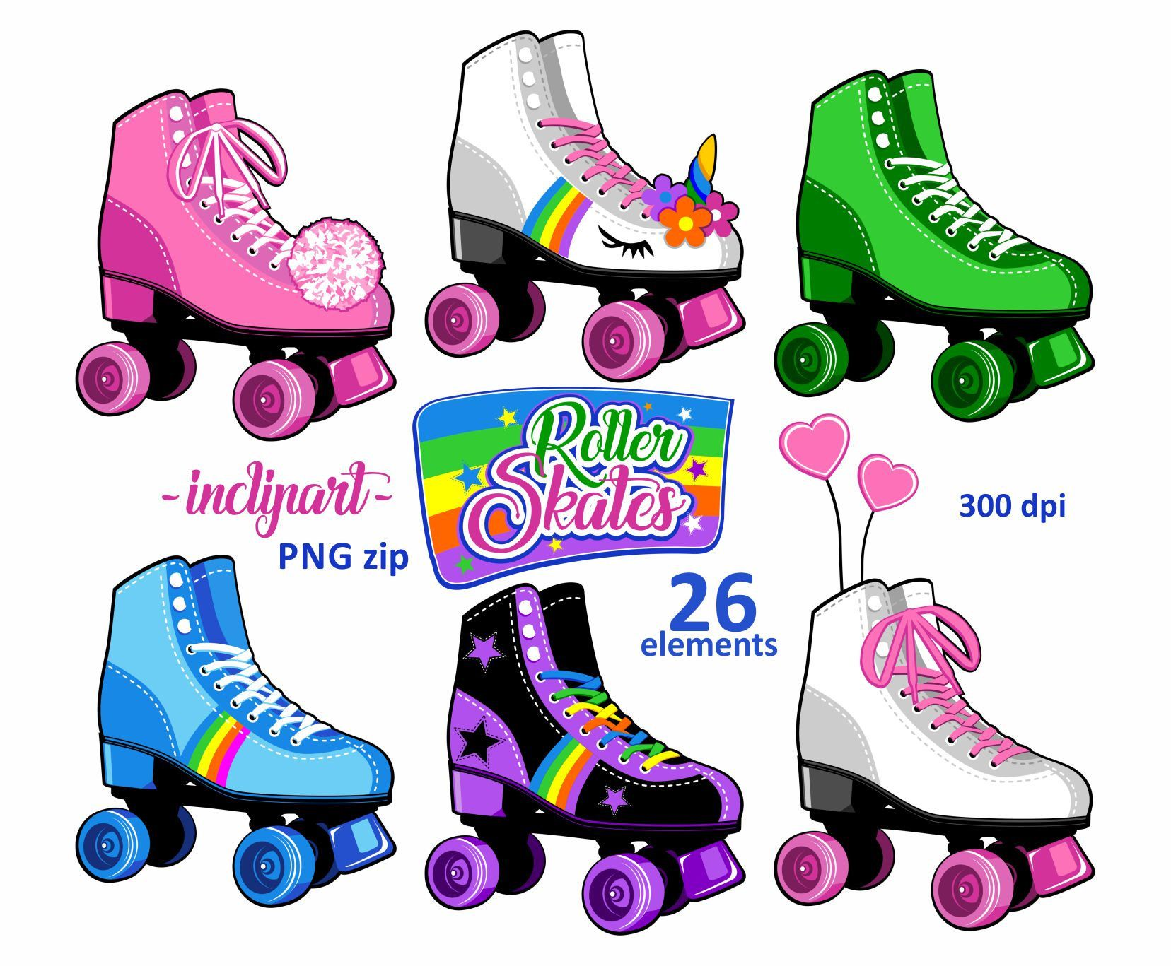 Skates party colorful skate. Bakery clipart roller
