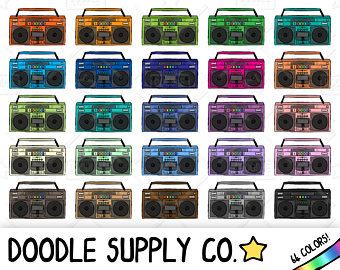Boombox etsy retro music. 80's clipart stereo