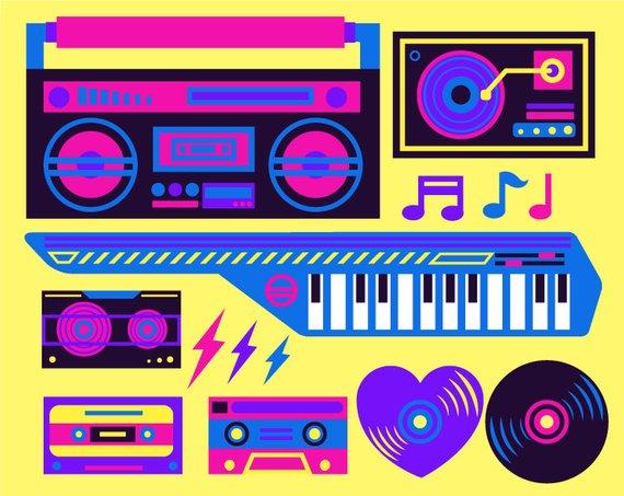 80's clipart stereo. Eighties s music neon